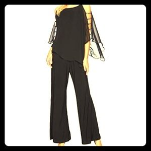 Evening Jumpsuit with Cape and Embellished Sleeves